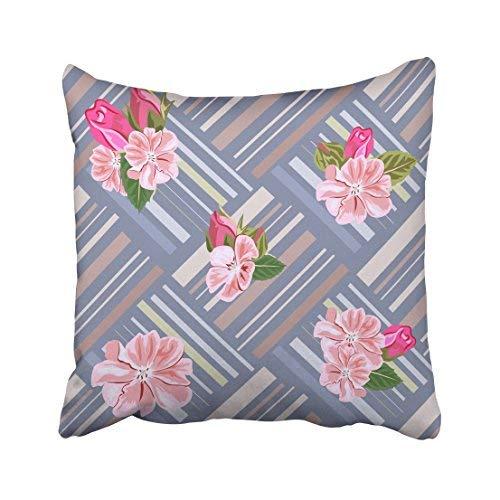 ZGNNN-EU Vintage mit niedlichen, zarten rosa Blumen auf gestreifter Verpackung, Romantisches Design für Calico Kissenbezüge, 45 x 45 cm -
