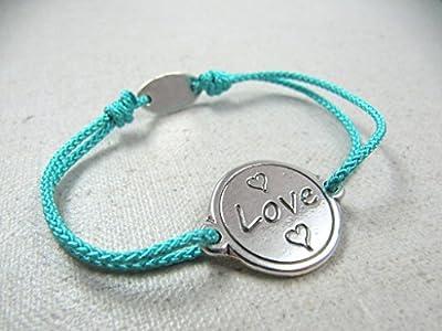 """Bracelet cordon tréssé """"Love"""" 18mm finition argent 925"""