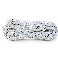 Yachtglanz R.G... - Festmacherleine | Ankerleine | Festmacher | Seil | Tau ø10 mm - 560 kg Bruchlast | aus Polyester | Bootsfestmacher in Weiß mit Blauem Kennfaden