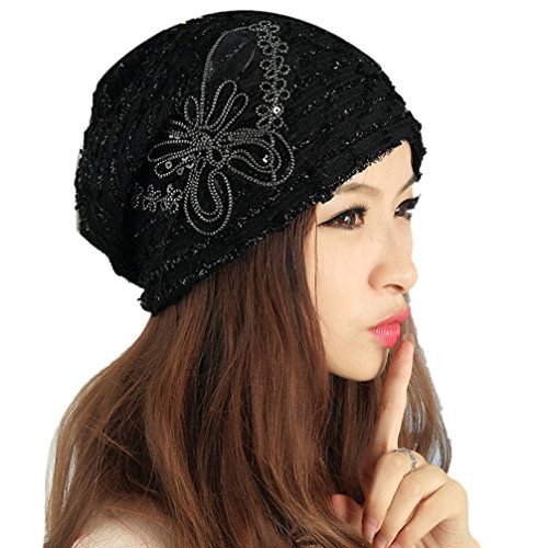 Saingace Mode Kappe,Damen Winter Hut Spitze Schmetterling Mütze Lady Skullies Turban Cap (Schwarz) (Nerz Pelz Kappe)