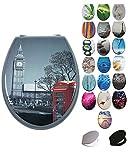 Grafner® MDF WC Sitz mit Absenkautomatik viele schöne Motive zur Auswahl - stabile Qualität - einfache Monatge WC Deckel Klobrille Softcolse (London)