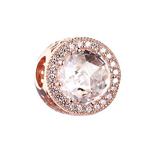 Cooltaste autunno radiant cuori rosa chiaro cz diy adatto per originale pandora charm in argento 925bracciali moda gioielli