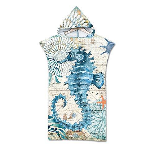 Kostüm Seepferdchen Einfache - Strandtücher 3D Poncho Handtücher Mikrofaser Kaputzen Decke Bademantel Schwimmen Badetuch Duschtücher Für Damen Herren Surfen Sport Strand -Ozean Stile (Seepferdchen)