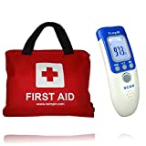 First Aid Kit Contains over 100 Items - Plus the TempIR Body Temperature Non Contact Thermometer - 2 essential Health Items at a special pack Price. CE Approved and Money Back Guarantee.