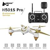 Hubsan x4 H501s Pro 5,8G FPV Quadcopter 10 Plus Kanäle Headless Modus GPS RTF Drohne mit 3M Pixel Kamera (Hohe Version) Schwarz / Weiß(2 Drohnenbatterie)