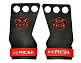 PICSIL RX Carbon Grips 3H - Hand Grips and Gymnastics Grips for Cross Training, muscleups, pullups, Weight Lifting, Chin ups, Training, Exercise, Kettlebell. Size S. Red Color.
