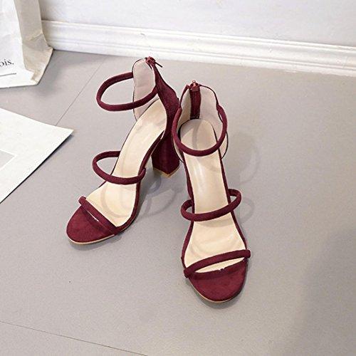 ... Somesun Sandales Cheville Talons Hauts Open Toe Chaussures, Femmes  Dames De Mode Sandales Zipper Cheville ... af66e0f70ac