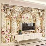 VVNASD 3D Murales Sfondo Parete Adesivi Decorazioni Stile Europeo Fiore Modello Marmo Pilastro Soggiorno Sfondo Home Decor Art Arte Ragazze Camera (W) 140X(H) 100Cm