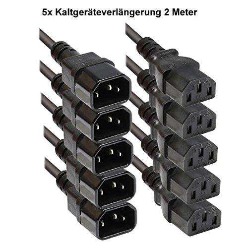 Faconet® Kaltgeräteverlängerung 1.8M Computer Stromkabel Verlängerung Netzanschluss-Verlängerung um 1.8 Meter (5 Stck) -