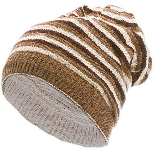 style3 Lässige Slouch Wende-Strickmütze - stylisch oben offen und beidseitig zu tragen (Beige) (Glatze-mütze)