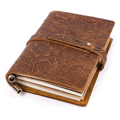Leder Notizbuch A6, UBaymax Vintage Reise Tagebuch Notizbuch Nachfüllbares, Handgefertigt Bullet Journal Notizblöcke Geschenkidee für Mädchen Frauen (Braun) (Geschenkideen)