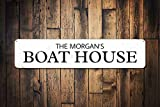 Family Boot House Sign Personalized Family Name Sign Custom Lake House Sign Metal Boat House Decor Novelty Aluminium Metal Tin Sign Post Wall Decoration for Men