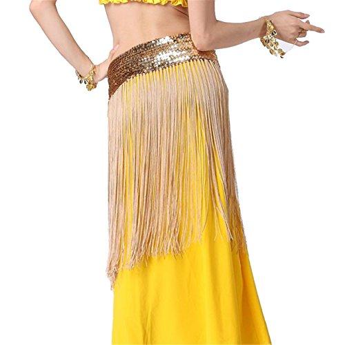 Danse du ventre costume Ceinture Sequins Tassel Elasticity Waistband Hip écharpe jupe Costume gold