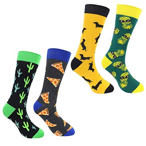 ECOMBOS Herren Socken Bunt - Baumwolle Socken Herren, Gemusterte Socken Muster Lustige Socken, Modische Socken Mehrfarbig Klassisch Baumwolle (Pizza-b), 4er Pack Einheitsgröße - Extreme Pizza