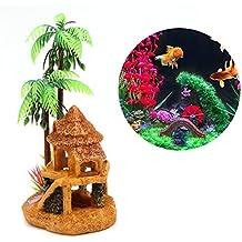 YFairy Acuario Decoración – Acuario Simulación de madera de coco Castillo Acuario Ornamente Decoración Paisaje