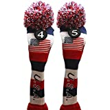 USA Majek Golf #4 & 5 Hybrid Headcovers Pom Pom Knit Limited Edition Vintage Classic Traditional Flag Stars Red White Blue Stripes Retro Head Cover