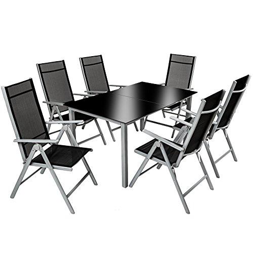 TecTake 800355 Aluminium 6+1 Salon de Jardin Ensemble Sièges Meubles Chaise Table en Verre Gris Foncé
