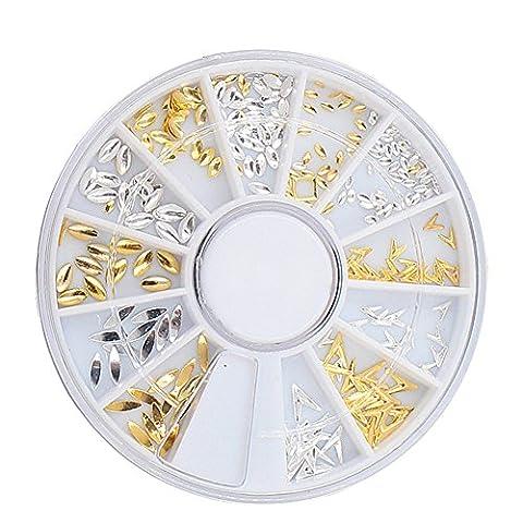 Born Pretty 1 Boîte 3D Décorations Ongles Nail Studs Carrousel Forme V des Yeux de Cheval Mixte Rivet en Métal Nail