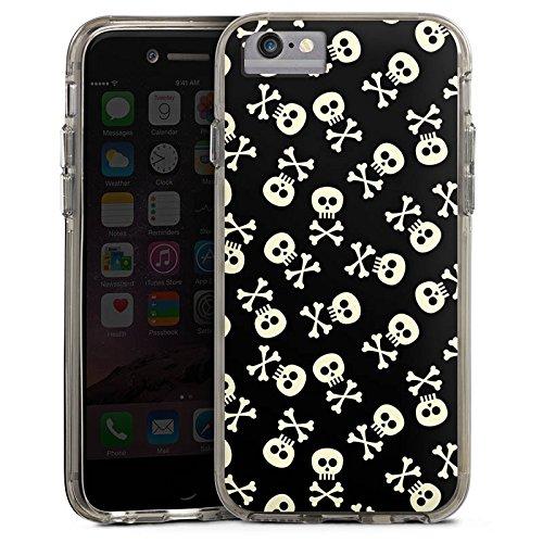 Apple iPhone X Bumper Hülle Bumper Case Glitzer Hülle Totenkopf Skull Allblack Bumper Case transparent grau
