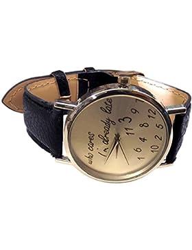 Unisex Armbanduhr Fun Trend Uhr who cares i´m already late lustig abstrakt