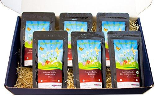 Oster Kaffee-Box, Ostern Geschenk - Tolle Box Mit 6 sagenhaften Kaffees á 65g (Ganze Bohnen, Blauer Karton) (Starbucks-kaffee-bohnen)
