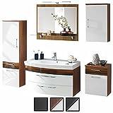 Badmöbel-Set VERONA XL Walnuss Weiß 5-tlg, Spiegel 90 cm LED beleuchtet, Waschtisch-Unterschrank 100 cm mit 2 Schubladen, Badezimmer Hochschrank 135 cm / 40 cm