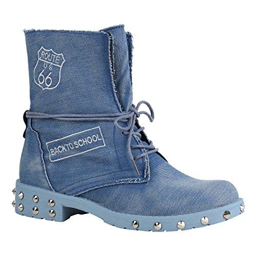 Damen Schuhe Schnürstiefeletten Leicht Gefüttert Stiefeletten Profilsohle 156855 Hellblau Nieten Denim 37 Flandell