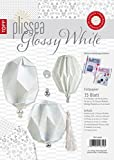 Plissea Faltpapier Glossy White: 15 Blatt Faltpapier und Accessoires für bis zu 15 Modelle, inkl. 3 Anleitungen