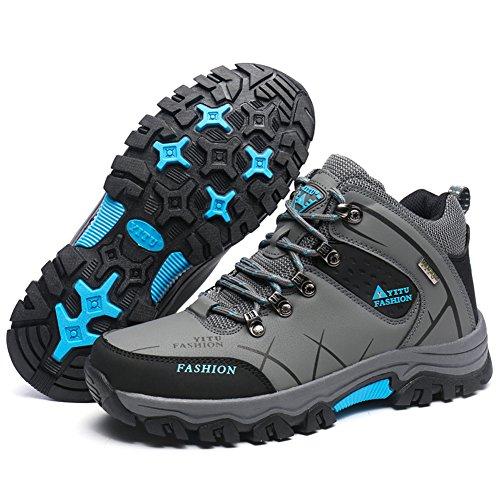 Gomnear Herren Wandern Stiefel High Top Trekking Schuhe Non Slip Breathable Wasserdichte Walking Klettern Sneakers,Grau-39