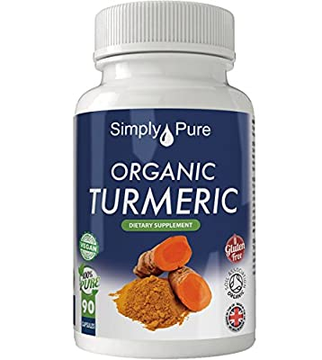 New - Exclusive to Amazon - Simply Pure - 90 Organic Turmeric Capsules - High Strength (600mg) - Soil Association Certified - Curcumin - 100% Natural - Gluten Free - Vegan - Moneyback Guarantee by Simply Pure Ltd