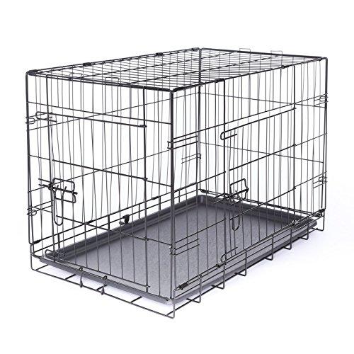 dibea DC00491 Transportkäfig für Hunde und Kleintiere, stabile Box aus kräftigem Draht, faltbar / klappbar, 2 Türen, mit Bodenwanne, Größe M