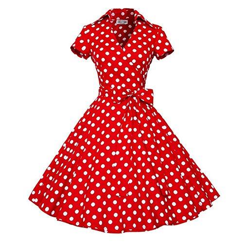 Robes femme de mode d'été rétro lapel manches courtes taille de papillon vague pointe grande jupe xxl