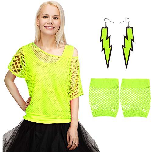 Blulu 80 Jahre Kostüme Set, Fischnetz aus Schulter T-Shirt Tank Handschuhe Ohrringe Halskette (Fluoreszierendes Grün, - Fischnetz Shirt Kostüm