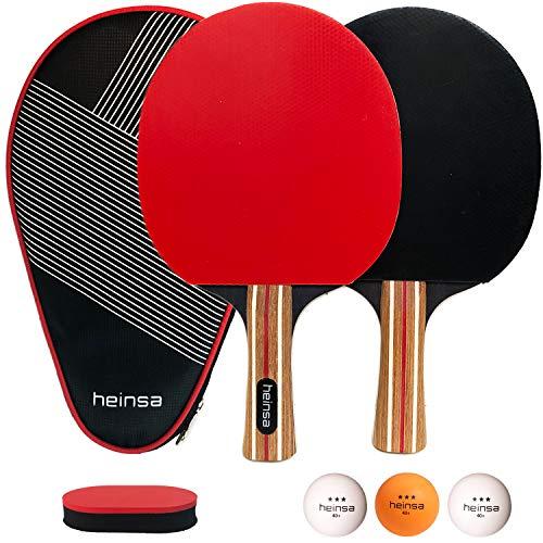 heinsa Premium Tischtennisschläger Set 2 - Tischtennisschlaeger Set Profi mit Schläger Hülle, Tischtennisbällen (3 Sterne) und Pflegeschwamm