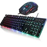 GYDP Juego de Teclado y Mouse para Juegos, Panel de Metal retroiluminado con Arco Iris, Teclado con Cable USB + 5500DPI Mouse, Plug and Play