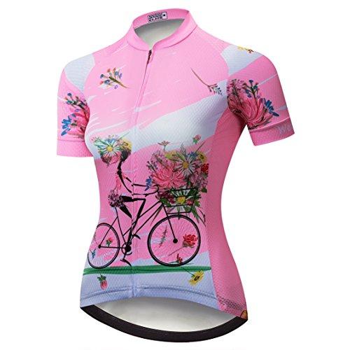 Kurzarm-shirt Reiten (Weimostar Radtrikot Frauen Mountain Bike Trikot Shirts Kurzarm Rennrad Kleidung MTB Tops Sommer Sommer Kleidung Reiten Pink Größe L)