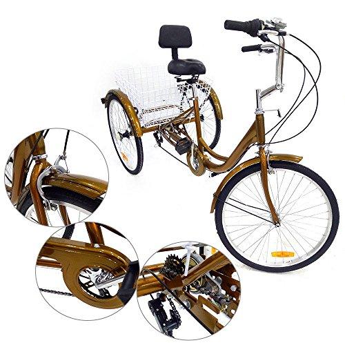 Triciclo per adulti 6speed 24 3 anziani Shopping ruota di bicicletta con cestino ROSSO