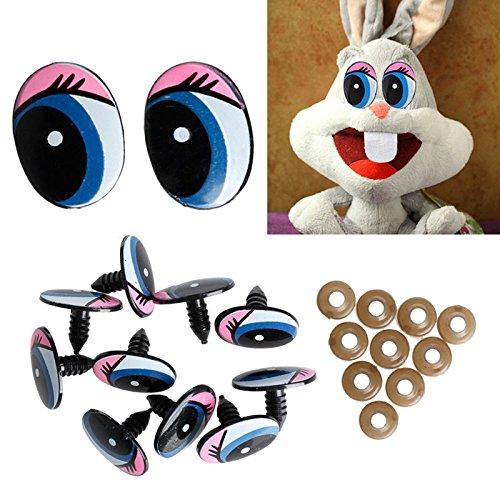 5 Paar (10 Stück) ovale blaue Sicherheitsaugen aus Kunststoff für Puppen, Augen-DIY 24 x 18 mm