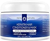 InstaNatural Keratin Hair Mask Treatment - Professional At Home Brazilian Conditioner Treatment for Dry & Damaged Hair - Smoothing & Strengthening Straight Hair Reconstructor Formula - 8 OZ