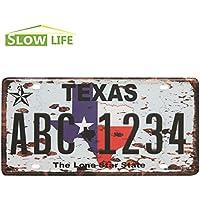 Texas ABC-1234 metallo auto Targa Vintage Home Decor segno di stagno Bar Pub Garage metallo decorativo Segno Arte pittorica la placca
