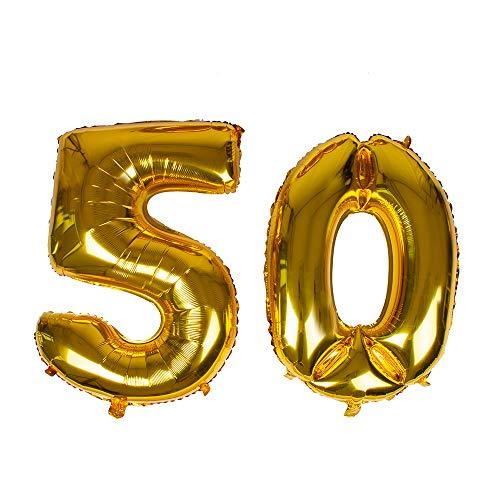 Globo con número 50 de lámina dorada gigante de 40 pulgadas, globos de helio para decoración de 50 cumpleaños