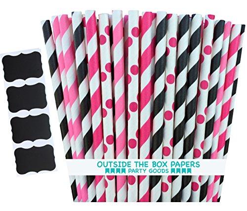 apier Hello Kitty Thema Polka Punkt und Streifen Papier Trinkhalme 19,7cm 100Stück pink, Hot Pink, Schwarz, Weiß ()