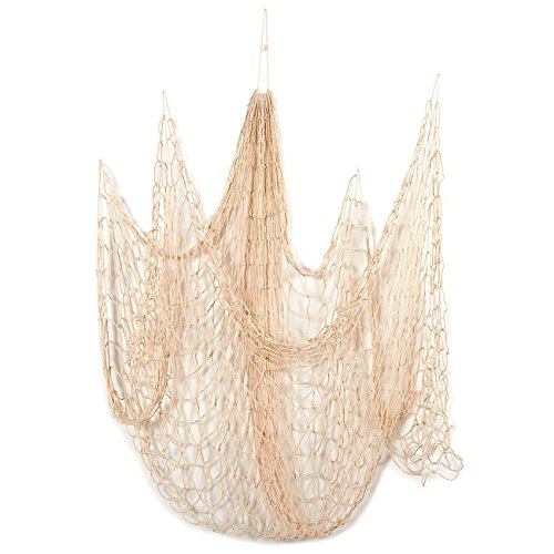 Deko Nautische Fischnetz–Baumwolle Net, Meer Party Decor, Angeln Thema Party Dekorationen, Fisch Net, Beige–200,7x ()