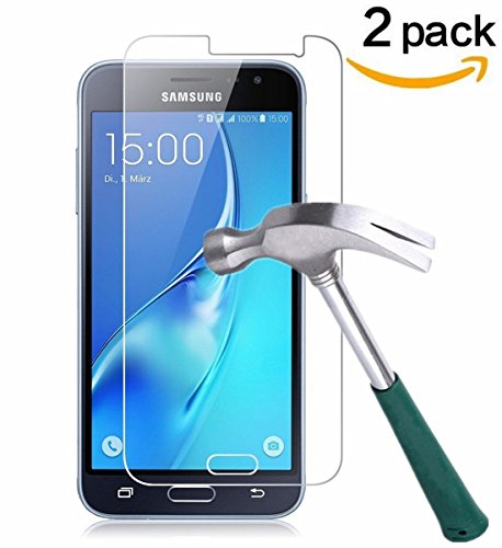 [2 Stück] CÄSAR-GLAS Panzerglas Schutzglas für Samsung Galaxy J3 2016, Anti-Kratzen, Anti-Öl, Anti-Bläschen, 9H Echt Glas Panzerfolie Schutzfolie (Wie Zeichnet Ein Stück)