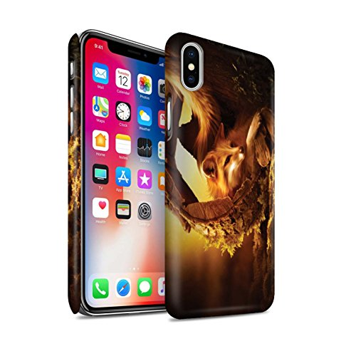 Officiel Elena Dudina Coque / Clipser Matte Etui pour Apple iPhone X/10 / Dans mes Bras/Sûr Design / Les Animaux Collection Jacinthe