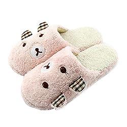 Demiawaking Niedliche Panda Winter Warme Rutschfeste Plüsch Hausschuhe (M-EU 38/39, Pink)