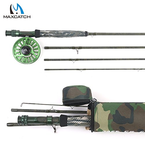 Maxcatch Camo Fliegenfischen Set 5 WT Fliegenrute mit Rutenrohr und AVID Rolle Outfit (5wt Camo Rod Combo)