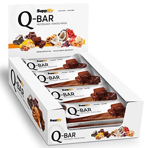 Protein Riegel Lowcarb & Low Fat Chocolate Brownie - Whey Eiweißriegel glutenfrei ohne Zuckerzusatz 12 x 60g Q-Bar Proteinriegel Low Carb -