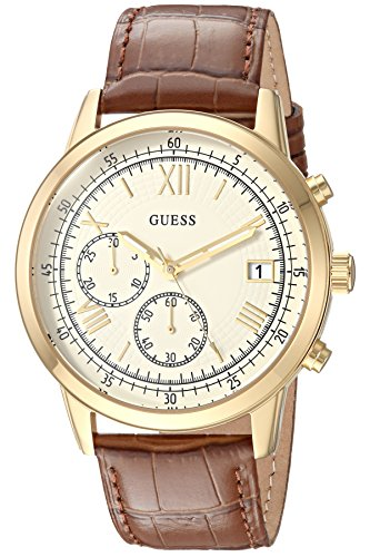 GUESS Men's Analog Quartz Watch with Leather Strap U1000G3