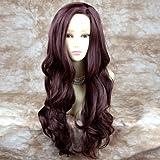 Fantastische Lange Abgestufte Perücke Dunkles Kupfer Rot Damen Perücke blond mit Top Faux Haut